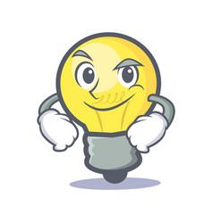 smirking light bulb character cartoon vector image