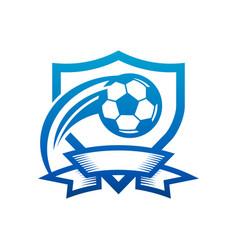 soccer ball shield badge icon vector image
