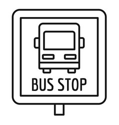 square bus stop sign icon outline style vector image