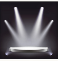 stage empty round podium illuminated by vector image