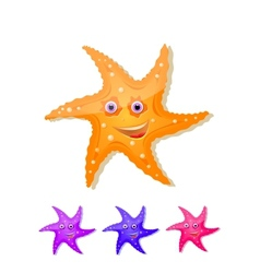 starfish with eyes and smile icon set vector image