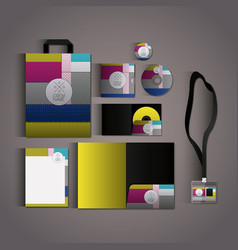 stationary templates with texture colours business vector image