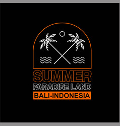 Summer paradise land bali indonesia vintage vector