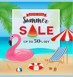 summer sale promotion banner background vector image