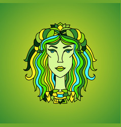 taurus girl portrait zodiac sign vector image