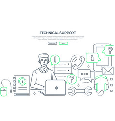 technical support - modern line design style web vector image