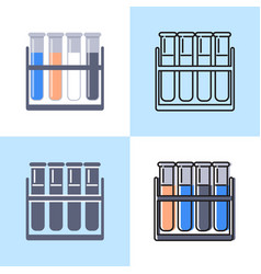 test tube icon set in flat and line styles vector image