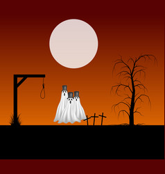 Three ghosts with hats standing in cemetery vector