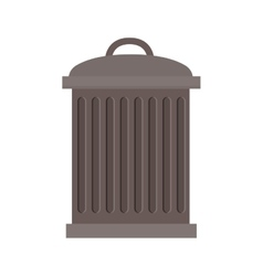 Trash bin with lid and striated vector