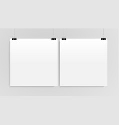 Two vertical poster mockup square mock-up vector