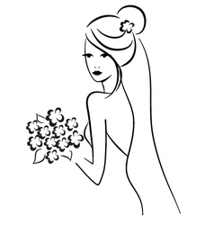 Beautiful bride with bouquet vector image