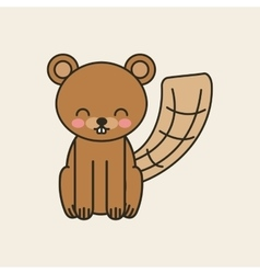 Cute beaver tender isolated icon vector