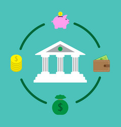 financial institution and money saving vector image vector image