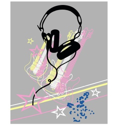 headphone guitar music poster vector image vector image