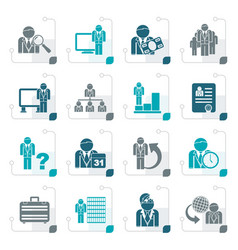 stylized business management and hierarchy icons vector image