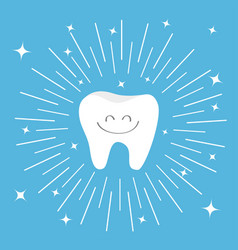 healthy tooth icon with smiling face round line vector image