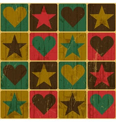 Hearts and stars seamless pattern vector image