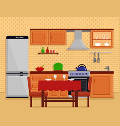 kitchen interior with table desk vector image