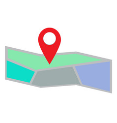 map icon flat on white background map icon flat vector image