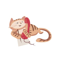 red phone cat vector image