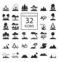 tree landscape 32 icons vector image vector image