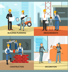 building concept icons set vector image vector image
