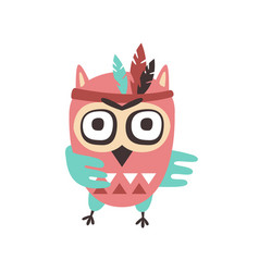 cute cartoon owl bird with feathers on its head vector image