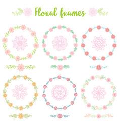 set of hand drawn vintage frame flowers vector image