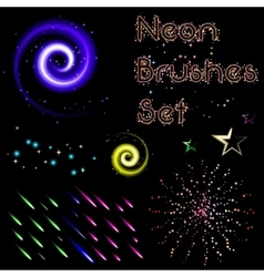 Set of neon brushes vector image