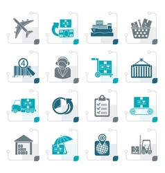 stylized cargo logistic and shipping icons vector image vector image