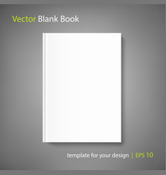 blank book cover template on grey background vector image