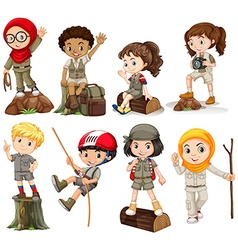 Boys and girls in camping outfit vector image