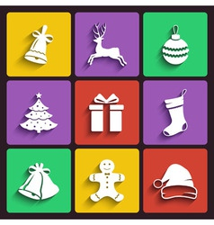 Christmas and New year flat design icon set vector image vector image