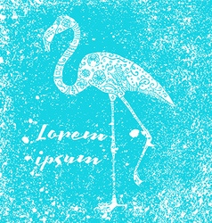 Grunge flamingo poster vector image