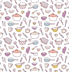 Kitchenware and cooking utensils doodle seamless vector image