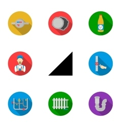 Plumbing set icons in flat style Big collection vector image