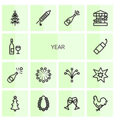 14 year icons vector image
