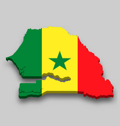 3d isometric map senegal with national flag vector
