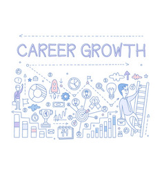 About career growth with man vector
