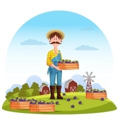 Agriculture man on field farmer harvester vector