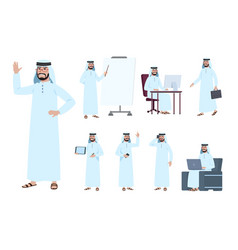 arab businessman saudi business people character vector image