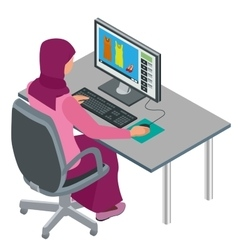Arab woman Muslim woman asian woman working in vector