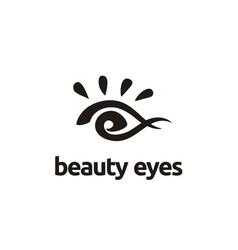 Artistic paint beauty woman eye brush logo vector