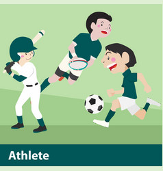 athletic sport cartoon set vector image