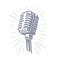 audio record mic on white background with ray vector image
