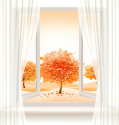 Autumn background with an open window and colorful vector image
