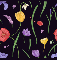 botanical seamless pattern with beautiful blooming vector image