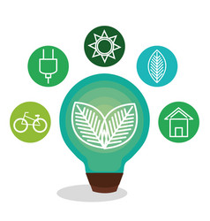 Bulb with leafs ecology icon vector