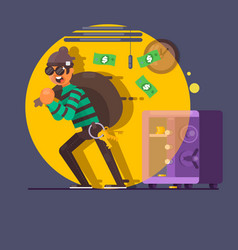 Burglar thief in mask on the big opened safe full vector