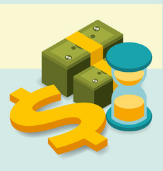Business hourglass pile banknotes dollar money vector